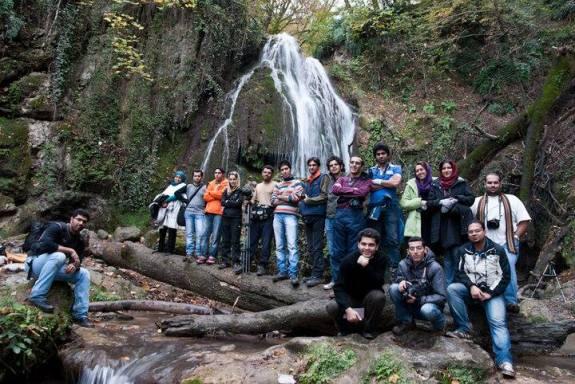 Research participants on a Photo Tour in Kaboudwāl waterfall near 'Aliābād-e Katul, Golestan province, northeast Iran
